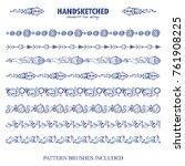 vector set of pattern brushes... | Shutterstock .eps vector #761908225