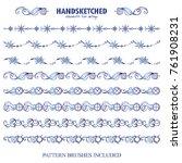 vector set of pattern brushes... | Shutterstock .eps vector #761908231