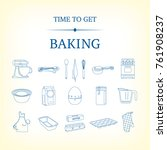set of 18 blue cooking and... | Shutterstock .eps vector #761908237