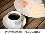 black coffee with breakfast set   Shutterstock . vector #761908861