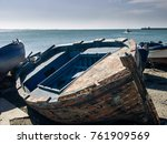 fishing boats pulled at the... | Shutterstock . vector #761909569