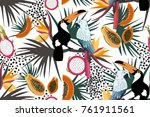 tropical seamless pattern with... | Shutterstock .eps vector #761911561
