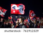 people with turkish flags are... | Shutterstock . vector #761912329