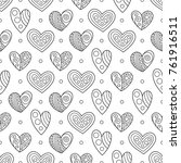 black and white contour hearts... | Shutterstock .eps vector #761916511