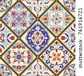 seamless ceramic tile with...   Shutterstock .eps vector #761916721