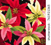 seamless poinsettia flowers | Shutterstock .eps vector #761921365