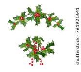 a sprig of mistletoe plants.... | Shutterstock .eps vector #761921641