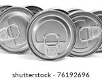 a pile of cans on a white background - stock photo