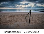 steps down to beach at sunrise | Shutterstock . vector #761929015