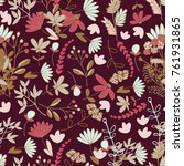 floral pattern with dark... | Shutterstock .eps vector #761931865