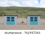 little beach cabins at a north... | Shutterstock . vector #761937241