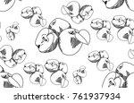 bananas vector pattern. drawn... | Shutterstock .eps vector #761937934