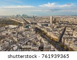 flying above roofs of paris ... | Shutterstock . vector #761939365