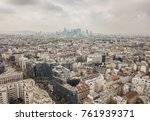 flying above roofs of paris ... | Shutterstock . vector #761939371