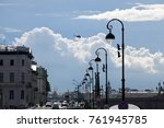 the neva embankment with clouds ... | Shutterstock . vector #761945785