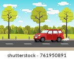 red off road car rides along ... | Shutterstock .eps vector #761950891