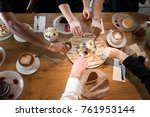 friends with desserts and... | Shutterstock . vector #761953144