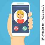 mobile phone in hand. answer... | Shutterstock .eps vector #761965171