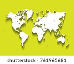 white vector map of world.... | Shutterstock .eps vector #761965681