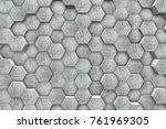 hexagon shaped concrete blocks... | Shutterstock . vector #761969305