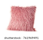 pink fluffy pillow  isolated on ... | Shutterstock . vector #761969491