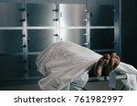 a scene in the hospital morgue... | Shutterstock . vector #761982997
