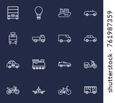 set of 16 traffic outline icons ... | Shutterstock .eps vector #761987359
