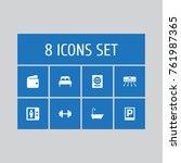 set of 8 motel icons set... | Shutterstock .eps vector #761987365