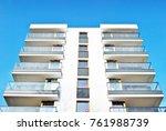 modern apartment buildings on a ... | Shutterstock . vector #761988739