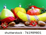 christmas fruits. christmas... | Shutterstock . vector #761989801