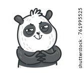 cute panda bear  funny evil ... | Shutterstock .eps vector #761995525