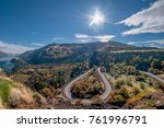 Curving road with fall colors in the Columbia River Gorge National Scenic Area. Oregon, United States