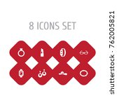 set of 8 accessories icons set... | Shutterstock .eps vector #762005821