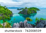 the view of rocky islands ... | Shutterstock . vector #762008539