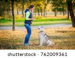 Young Girl Play With Siberian...
