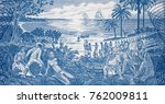 Small photo of African slave trade on Guinea Bissau 500 peso banknote closeup macro, slavery scene in Africa.
