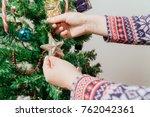 christmas preparation  female...   Shutterstock . vector #762042361