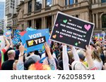 rainbow protesters at marriage... | Shutterstock . vector #762058591