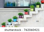colorful flower pot decorate on ... | Shutterstock . vector #762060421