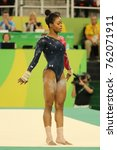 Small photo of RIO DE JANEIRO, BRAZIL - AUGUST 7, 2016: Olympic champion Gabby Douglas of United States competes on the floor exercise during women's all-around gymnastics qualification at Rio 2016 Olympic Games