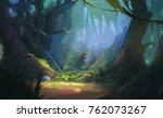 Stock photo enchanted forest game background illustration realistic style concept 762073267