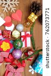 christmas background with... | Shutterstock . vector #762073771
