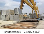 heavy natural granite stone... | Shutterstock . vector #762075169