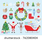 vector collection of christmas... | Shutterstock .eps vector #762080404