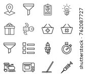 thin line icon set   pointer ... | Shutterstock .eps vector #762087727