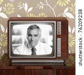 senior tv presenter in retro... | Shutterstock . vector #76209238