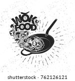 wok pan. asian fast food. hand... | Shutterstock .eps vector #762126121