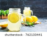 lemonade with fresh mint on a... | Shutterstock . vector #762133441