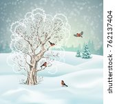 vector winter landscape. frosty ... | Shutterstock .eps vector #762137404