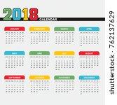 colorful year 2018 calendar | Shutterstock .eps vector #762137629